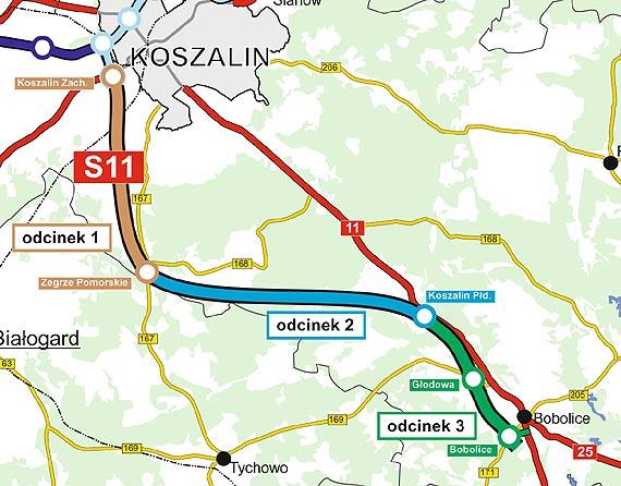 Najkorzystniejsze oferty w przetargach na realizację odcinków S11 Koszalin-Bobolice wybrane